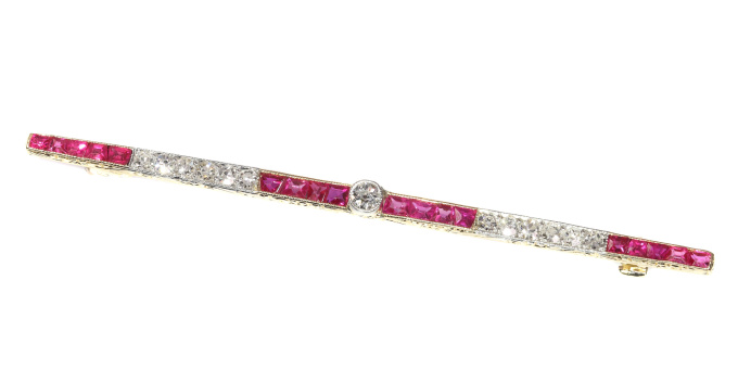 Art Deco ruby and diamond bar brooch by Unknown Artist