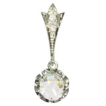 Big Rose Cut Diamond Art Deco Pendant Belle Epoque by Unknown Artist