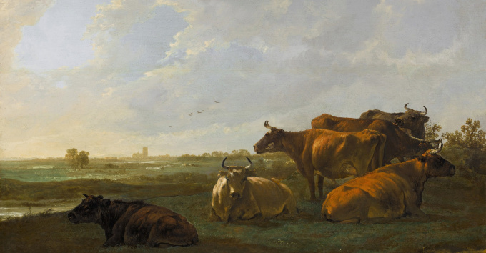 A Landscape with Cattle Grazing on a Bank, the Town of Dordrecht Beyond by Aelbert Cuyp
