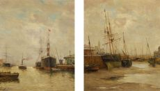 Two paintings of ships in a harbour by Johan Barthold Jongkind
