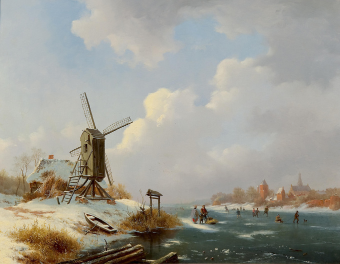 Skaters on the ice by Frederik Marinus Kruseman