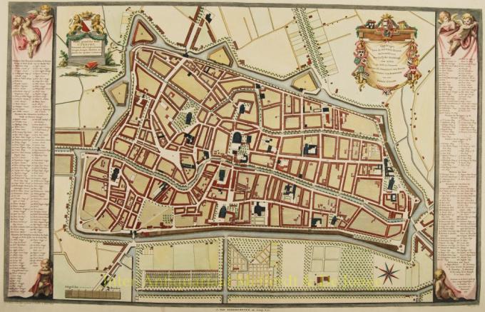 Platte grond der Stad Utrecht vertonende alle Gragten, Straaten, Steegen, Gangen, Markten, en plaatsen der openbare Gebouwen by Johannes van Schoonhoven