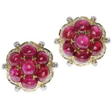 Estate Vintage ruby and diamond earrings with over 14 crt of untreated rubies by Unknown