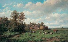 Bij de boerderij by Anthonie Jacobus van Wijngaerdt