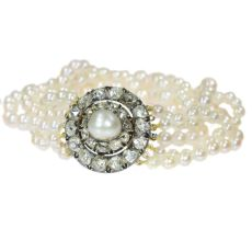 Antique 5-string pearl bracelet with rose cut diamond closure and real big pearl by Unknown