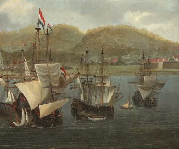 Four VOC three-masters at anchor in front of a fortress by Reinier Nooms