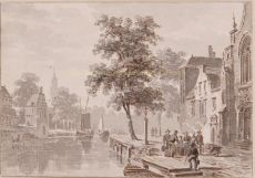 Gezicht van een Nederlandse stad met gracht by Bartholomeus Johannes van Hove