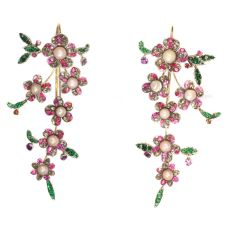 Extravagant long pendent earrings from antique parts diamonds, pearls, rubies by Unknown Artist