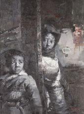 Tibetan children by Lin Jin Chun