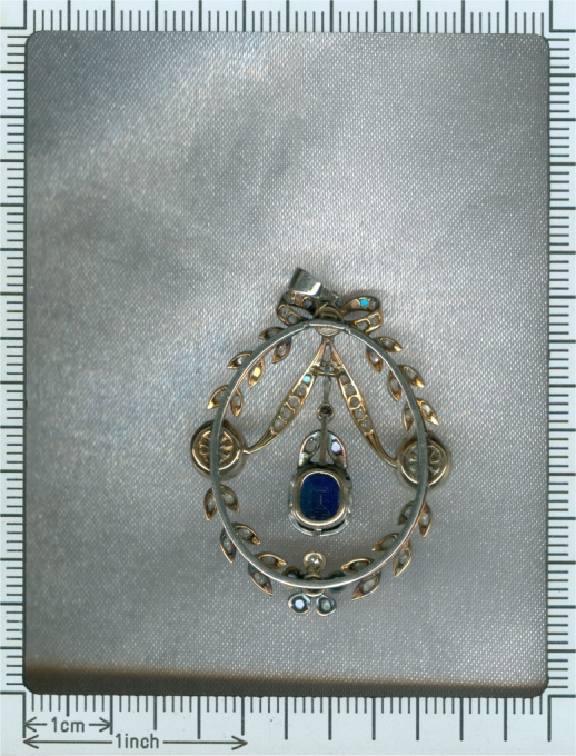 Belle Epoque diamond pearl and sapphire pendant by Unknown Artist
