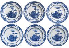 A set of six Chinese porcelain plates, Kangxi