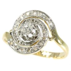 Antique turn of the century ring tourbillon with diamonds