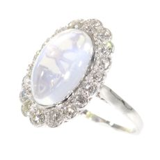 Vintage platinum diamond ring with magnificent moonstone by Unknown