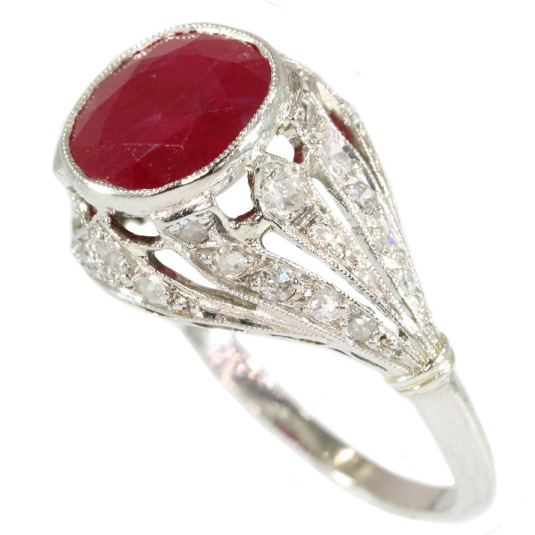 French Art Deco diamond engagement ring with big Burmese ruby by Unknown
