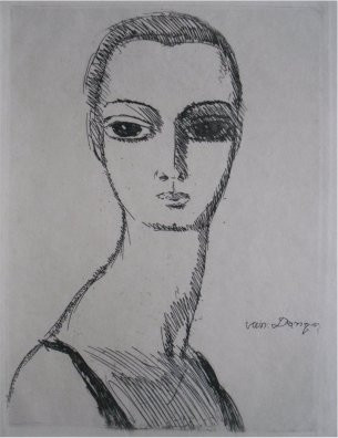 Girl with a swann´s neck by Kees van Dongen