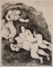Lot and his daughters by Marc Chagall