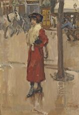 Parisienne with Red Cloak by Isaac Israels