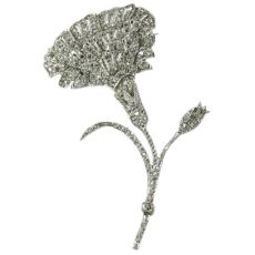 Antique Belle Epoque flower brooch fully encrusted with rose cut diamonds by Unknown Artist