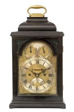 A small English ebonised table clock, James Wittit London, circa 1740 by James Wittit London