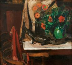 Still life with flowers and a crocodile