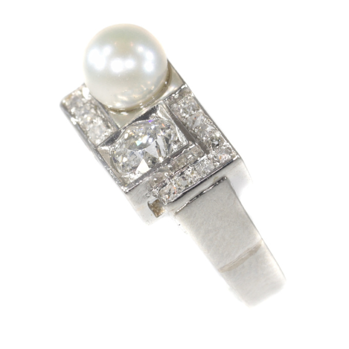 Vintage platinum diamond and pearl Art Deco ring by Unknown Artist