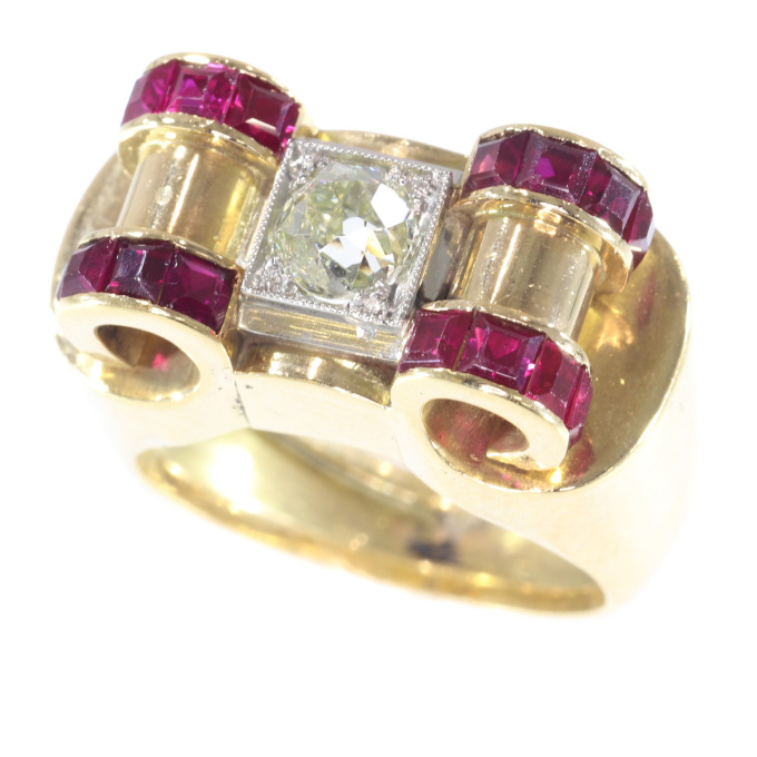 Impressive Retro ring with big old brilliant cut diamond and carre rubies by Unknown