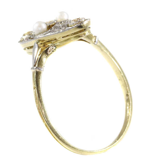 Vintage Edwardian diamond and pearl ring by Unknown