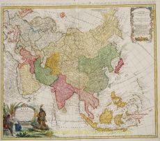 Old map of asia by Homann Heirs