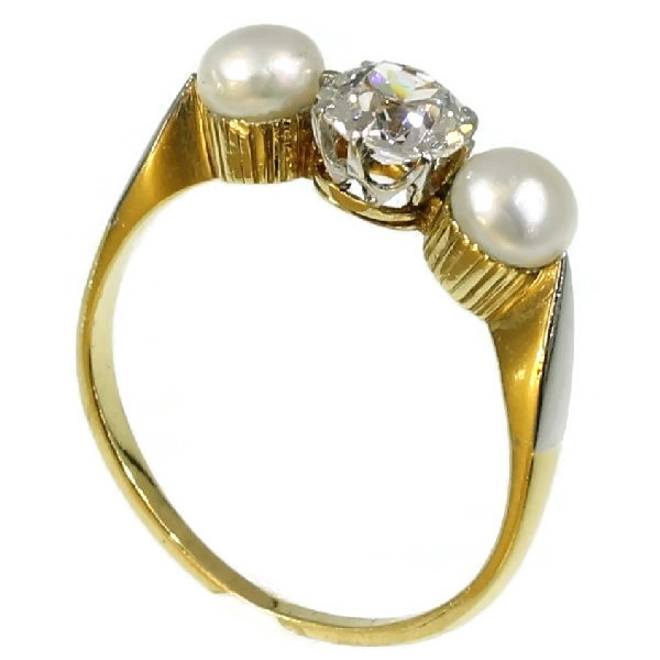 Three stones estate engagement ring diamond pearl by Unknown