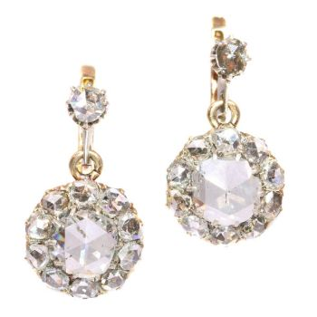 Antique large rose cut diamonds earrings by Unknown Artist