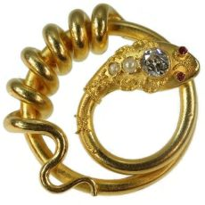 Antique gold snake or serpent brooch with big diamond by Unknown Artist