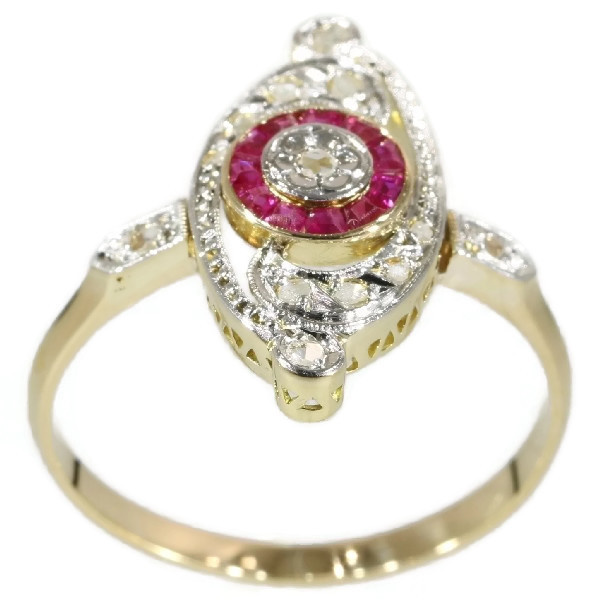 Charming Belle Epoque Art Deco ring with diamonds and rubies by Unknown Artist
